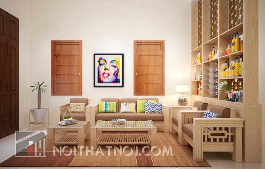 sofa gỗ hiện đại ấn tượng