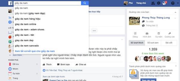 Tính năng gợi ý cụm từ tìm kiếm liên quan trên Facebook