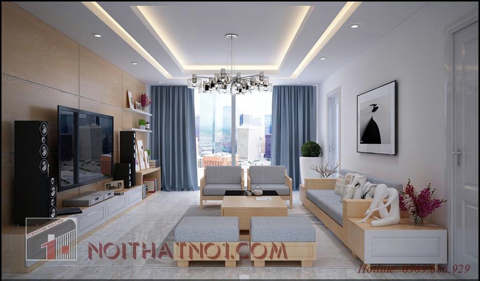 Mẫu sofa gỗ phòng khách hiện đại